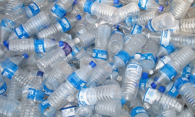 Empty plastic drinking water bottles